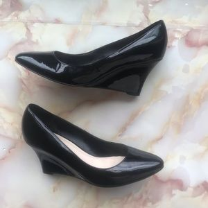 Cole Haan Grand OS Black Patent Leather Wedges 7.5